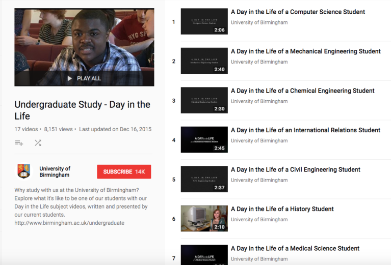 Day in the Life video series - University of Birmingham